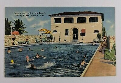 Postcard Linen People Swimming at Casino and Pool on the Beach Delray Florida