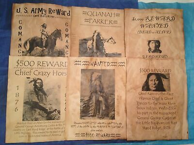 Old West Wanted Posters Reward Western Geronimo Apache Sioux Chief Custer Army