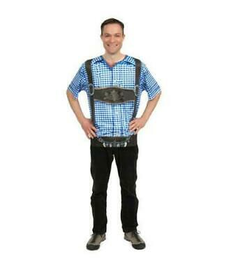 Mens Realistic Faux German Costume Lederhosen Blue Shirt Medium