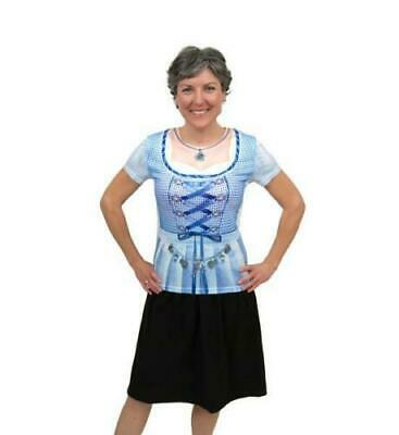 Womens Realistic Faux German Costume Dirndl Blue T- Shirt