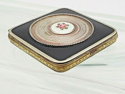 Vintage Makeup Compact- Sterling Silver Black - Rose Overlay Enamel Guilloche