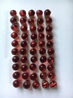 "Lot Of 50 Red Glass Cat Eye Sign Reflectors 1/2""size  #5 Railroad Road Stop"