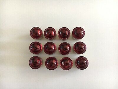 Lot Of 12 RED Glass Cat Eye Sign Reflectors.  size  #3 Railroad Road Large STOP