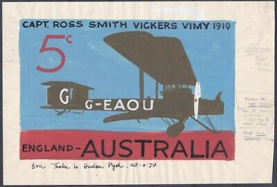 Stamps Australia - Rare Lot of 1969 Eric Thake Signed Sketches & Stamp Designs.