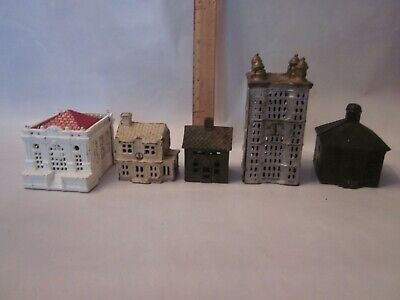 Cast iron building bank lot still tower church house antique penny lot