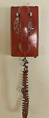 Vintage Western Electric Bell Rotary Dial Wall Telephone Deep Red A/B 554 9-74