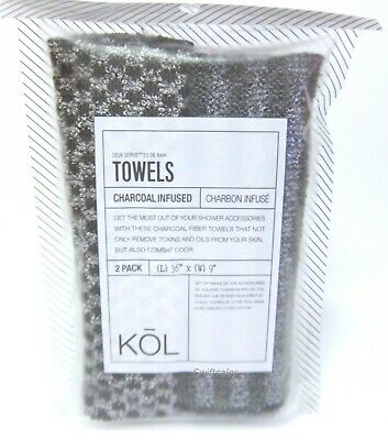 Donnamax KŌL KOL 5302 - Charcoal Infused Exfoliating Towels - 2 / Two Pack / 2X