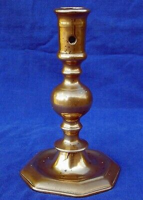 Rare 17th century French bronze massive ball knopped candlestick circa 1650
