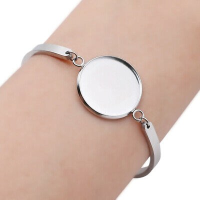1pc Round Bracelet Base Setting Cabochon Blank Trays Bezel Jewellery Accessories