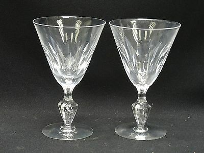 SET of 2 VINTAGE TIFFIN CRYSTAL RED WINE GLASS with TEARDROP BUBBLE STEM