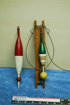 2 pc Antique Vintage Old Wooden Fishing Bobber Floats Hand Reel Indian Head Co
