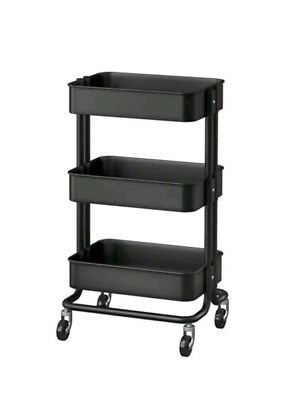 Utility Cart Rolling Organizer IKea Raskog Kitchen Cart Black Mobile Storage