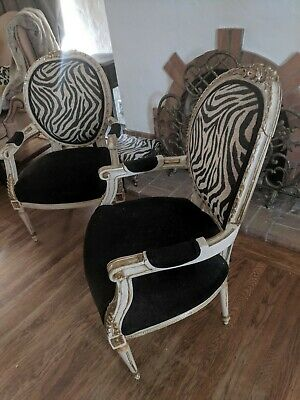 Set of 2- UPDATED VINTAGE LOUIS XVI ARM CHAIRS FRENCH HAND CARVED 1940's