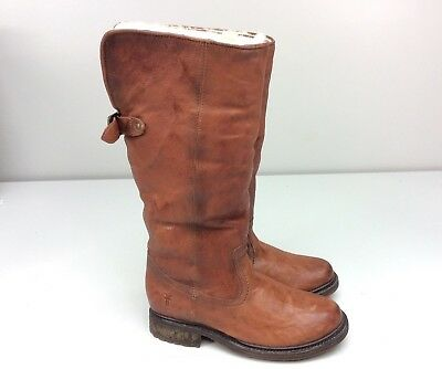 FRYE Valerie Pull On Cognac Shearling Boots Antique Leather Size 6.5 women's