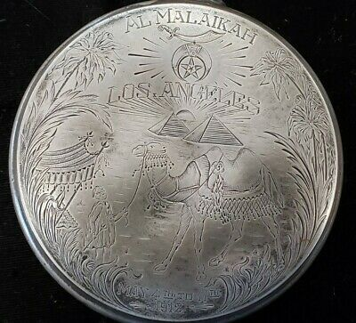 Al Malaikah Los Angeles silver flask dated may 4th to 11th 1912 in fair