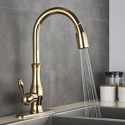 Gold Single Handle Pull Down/Out Brass Kitchen Sink Faucet With Swivel Spout Tap
