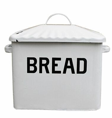 Vintage-Style Enameled Bread Box Antiqued White Metal Bin Enamelware Retro-Look