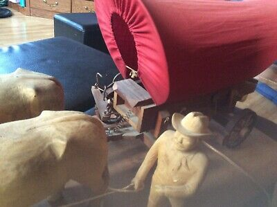 Vintage Wooden Covered Wagon Lamp~With Oxen Western~Hand Crafted