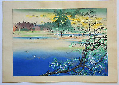 Originale Japanese Woodblock Print Kyozo Endo The Alps Of Japan