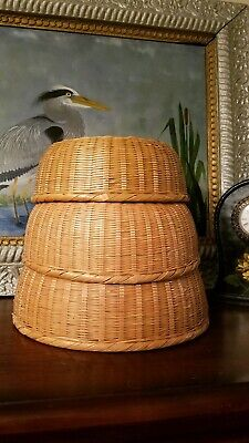 3 Mid Century Bamboo Nesting Baskets Round Hand Woven Stacking Asian Gold Label