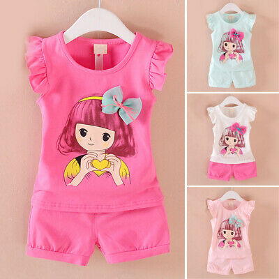 Girls Girls outfit Beach Girls outfit Summer Cartoon Print Fashion Toddlers