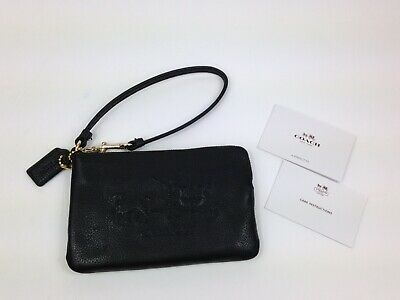 NWOT Coach Pebble Leather Small Zip Around Phone Black Wallet
