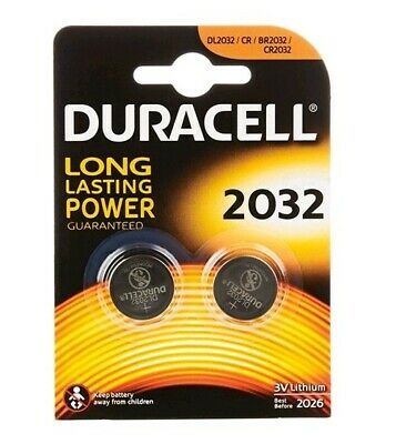 2 Pack Duracell Cr2032 3V Lithium Button Battery Coin Cell Dl/Cr 2032