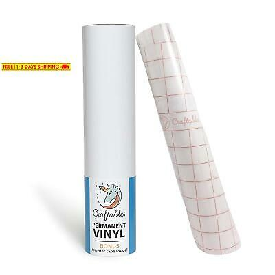 "Craftables White Vinyl Roll - Permanent, Adhesive, Glossy  Waterproof | 12"" X 1"