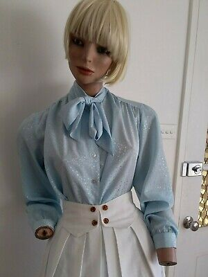 VNTGE 80s Powder Blue Floral Flowing Polyester Blouse with Neck Ties 16-18/L-XL