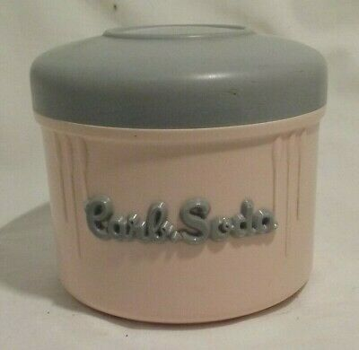 retro vintage 1950s EON Product Carb Soda. Grey and Pink Storage Canister