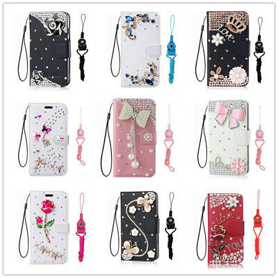 Leather Wallet Case with Strap Bling Diamond Flower Phone Cover For Samsung