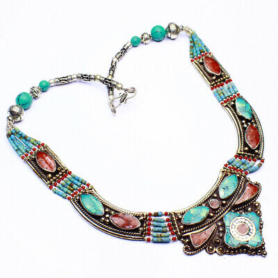 Coral Turquoise Nepali Jewelry Tibetan Silver Plated Necklace  A01811