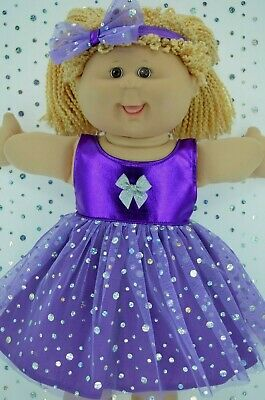 """Play n Wear Dolls Clothes For 16"""" Cabbage Patch PURPLE SEQUIN DRESS~HEADBAND"""