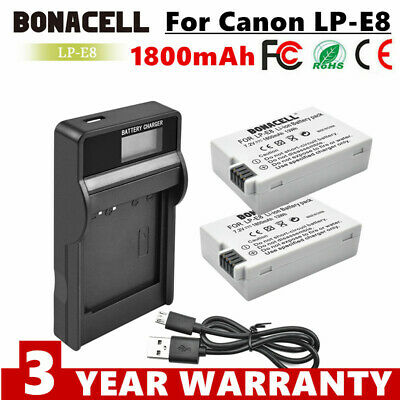 2 x  LP-E8 LPE8 battery + LCD Charger For Canon EOS 550D 600D 650D 700D T3i T4i