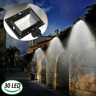 30LEDs Solar Gutter PIR Motion Sensor Wall Light Outdoor Patio Garden Lamp White