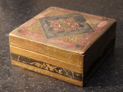 EASTERN Antique Vintage Hand Painted WOODEN BOX