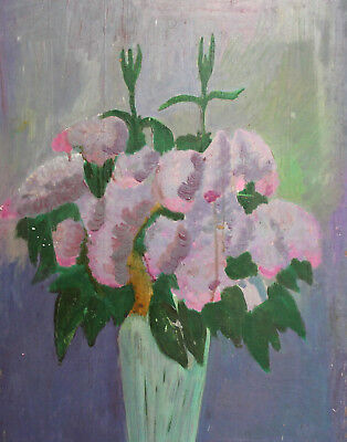 Vintage oil painting impressionist still life with flowers