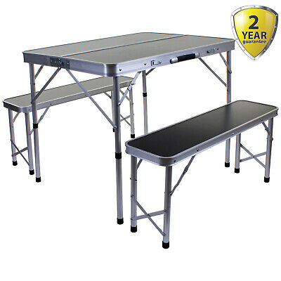 Portable Folding Camping Table Picnic Outdoor Bench Set Trestle Compact Seating