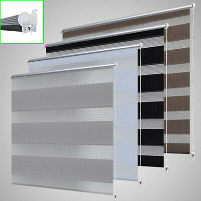 Day and Night Zebra Vision Window Roller Blinds Black White Grey Coffee 11 Sizes