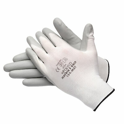 Bodyguard 104-MAT Matrix F Grip Palm Coated Gloves 1 Pair Grey White Size 10 XL