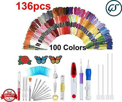 136pcs Magic Embroidery Pen Punch Needle Set Knitting Sewing DIY Tool Craft M3I5