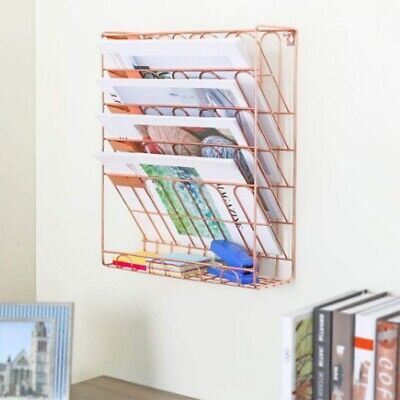 2X(European Simple Rose Gold Iron Bookshelf Desktop Books Magazine Storage R H1)