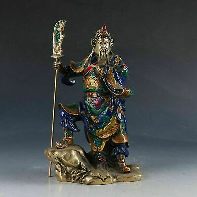 Chinese Cloisonne Handwork Carved Guangong Statue