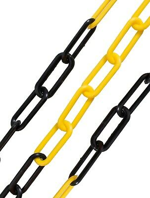 6mm Yellow & Black Plastic Decorative Garden Safety Warning Barrier Link Chain