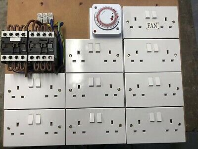 Hydroponics 18way Contactor Board Grow Light Socket Timer UK