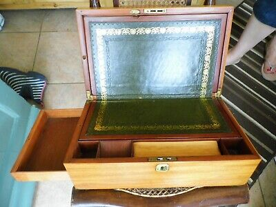 Antique Mahogany Writing Slope Box - Secret Side Draw - Lock - TLC