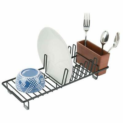 mDesign Compact Modern Kitchen Countertop, Sink Dish Drying Rack, Removable Cutl