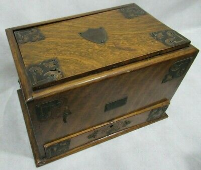 Late Victorian Antique Stationary Writing Box Solid Wood with Drawer