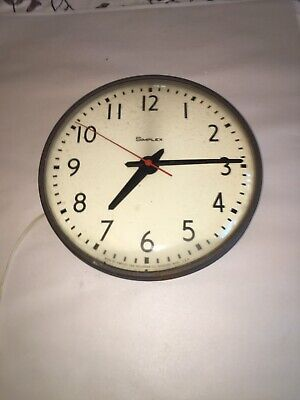 """Vintage 13"""" Simplex Glass Dome Industrial School Wall Clock As Is Parts Turns On"""