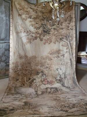 Huge Antique French Chateau Tapestry 9ft. x 4ft.9""